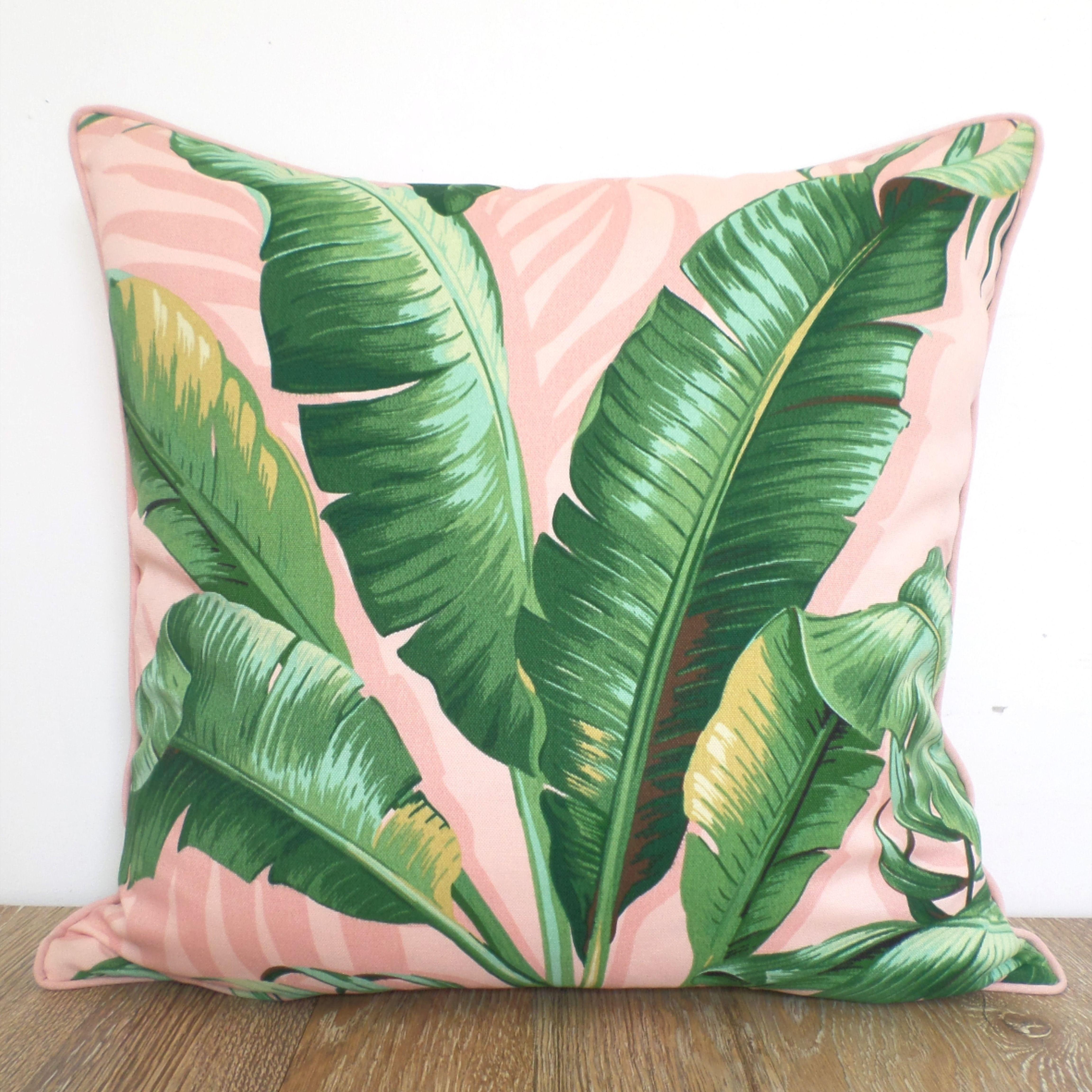 banana leaf pillow cover 20x20 old florida decor blush etsy in 2020 tropical pillows tropical throw pillow banana leaf pillow