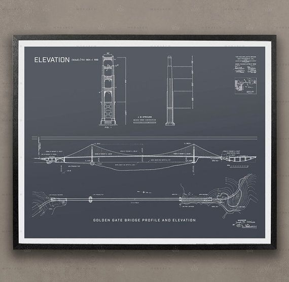 Golden Gate Bridge Blueprints, Architecture, Elevations, Plans, San - fresh blueprint maker website