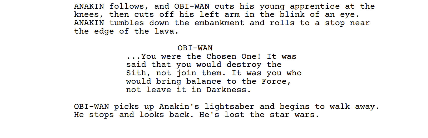 An Earlier Draft Of George Lucas Revenge Of The Sith Script In 2020 George Lucas Revenge Apprentice