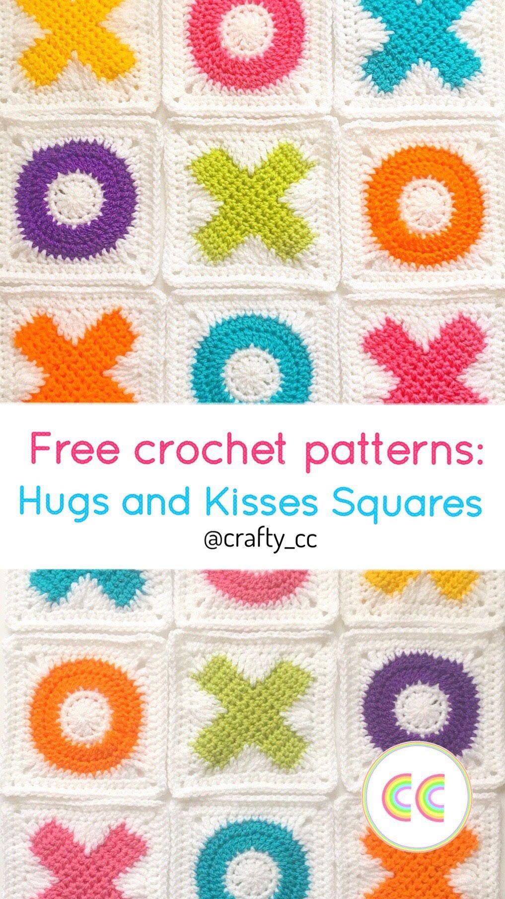 Hugs And Kisses Crochet Squares Crochet Baby Blankets Pinterest