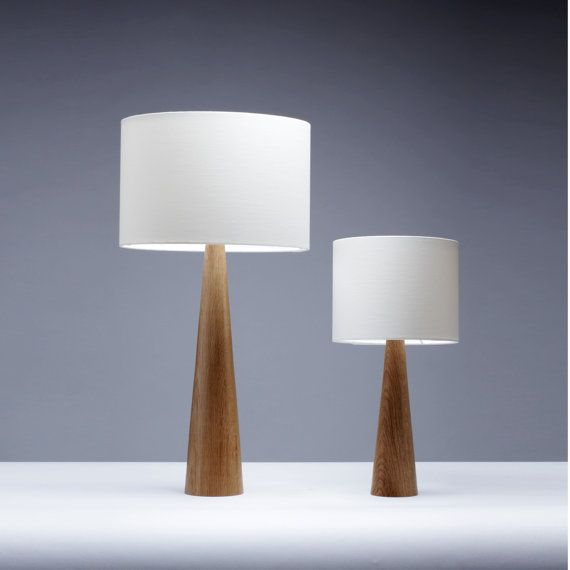 Oak Table Lamp Cone Shape 41cm Bedside Lamp Small Table Lamp