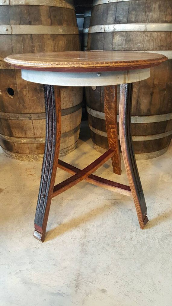 Wine Barrel Head End Table Local Pickup Only