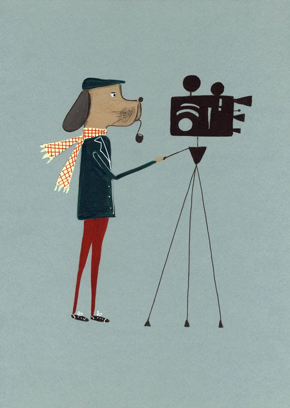 Film Dog Art Drawing Print Poster Mid Century Retro by Cincuentas