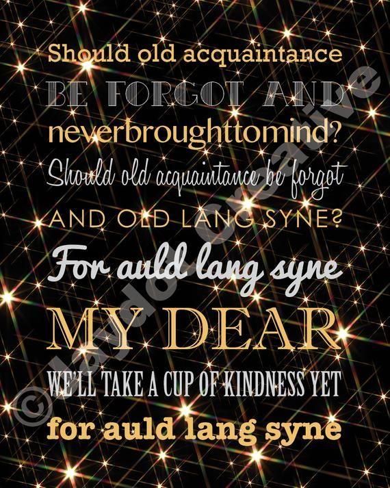 NEW YEAR'S Eve Auld Lang Syne Printable Lyrics