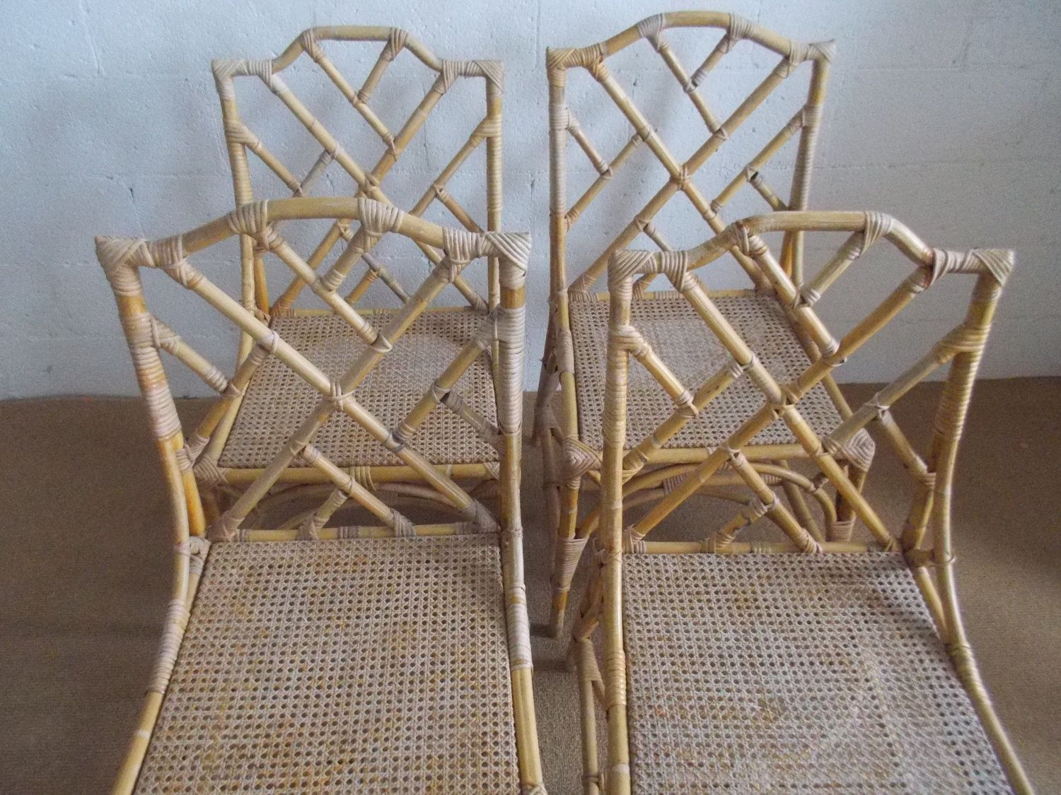Sedie Bambu ~ Set of two classic burnt bamboo rattan chinese chippendale