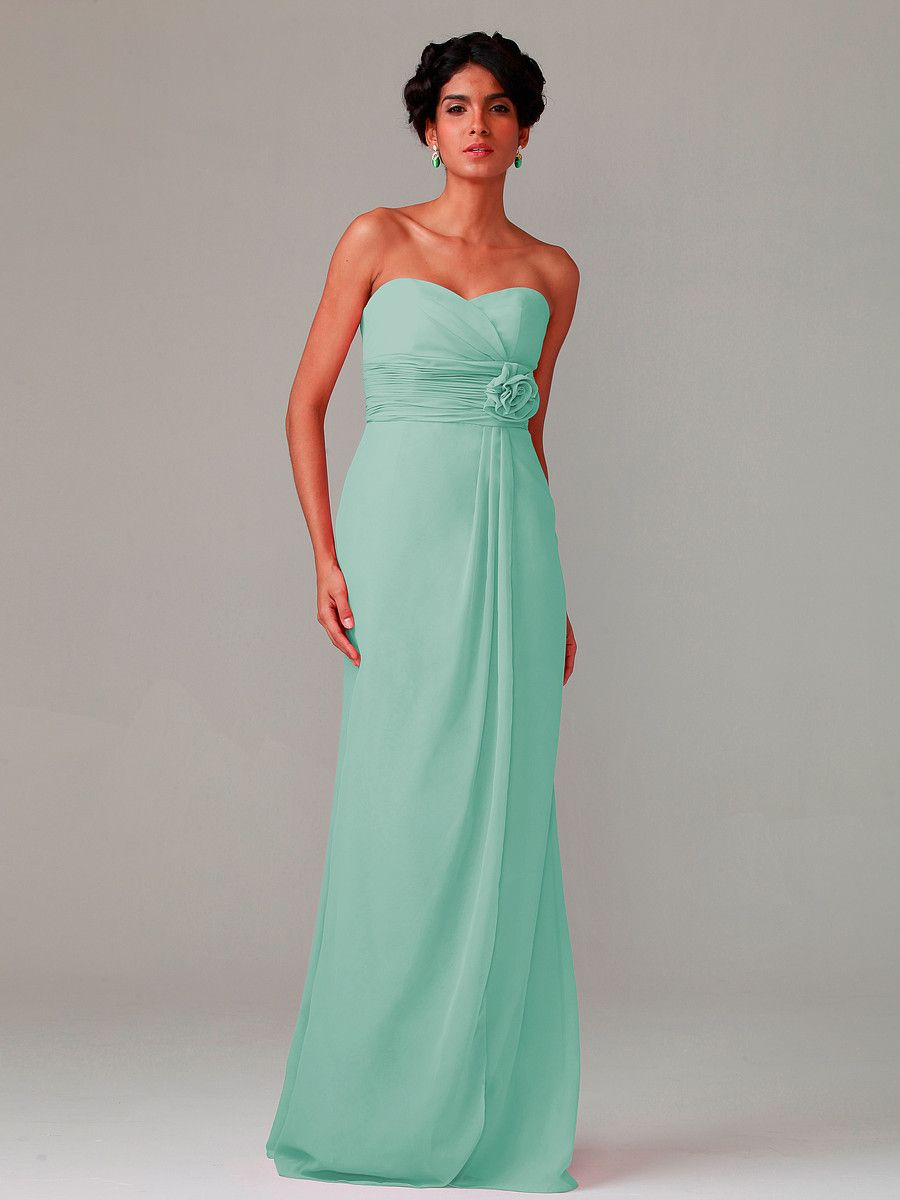 Strapless Chiffon Dress With Flowers | Plus and Petite sizes ...