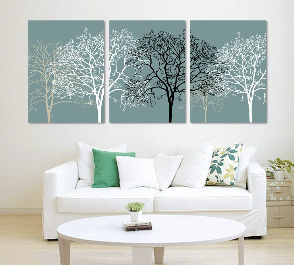 3 Piece Black And White Abstract Trees Split Canvas