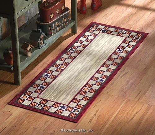 Country Hearts Stars Accent Runner By Collections Etc By Mallory Lane Http Www Amazon Com Dp B00atwdkwo R Country Rugs Country Primitive Primitive Kitchen