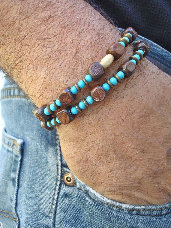 Mens Turquoise Bracelet with double strands that you can wear as a necklace. A classic combination of turquoise and brass alternate with wood beads.