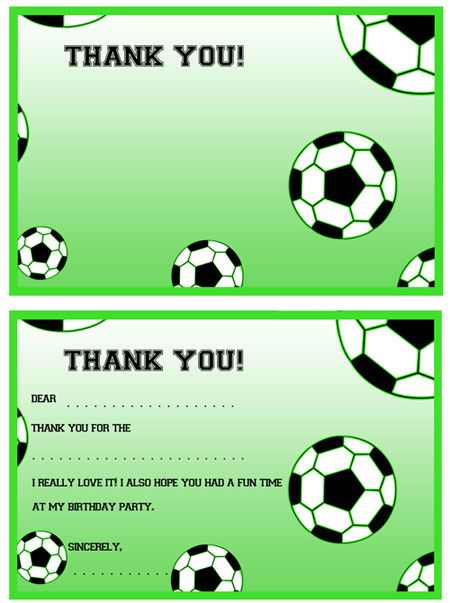 Printable Soccer Thank You Notes from PrintableTreats – Printable Birthday Thank You Cards