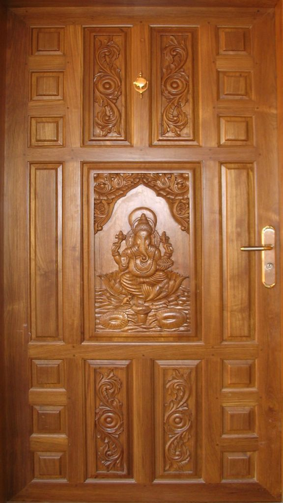 Teak wood door Sri Ganesh carving  Goel Woodworks