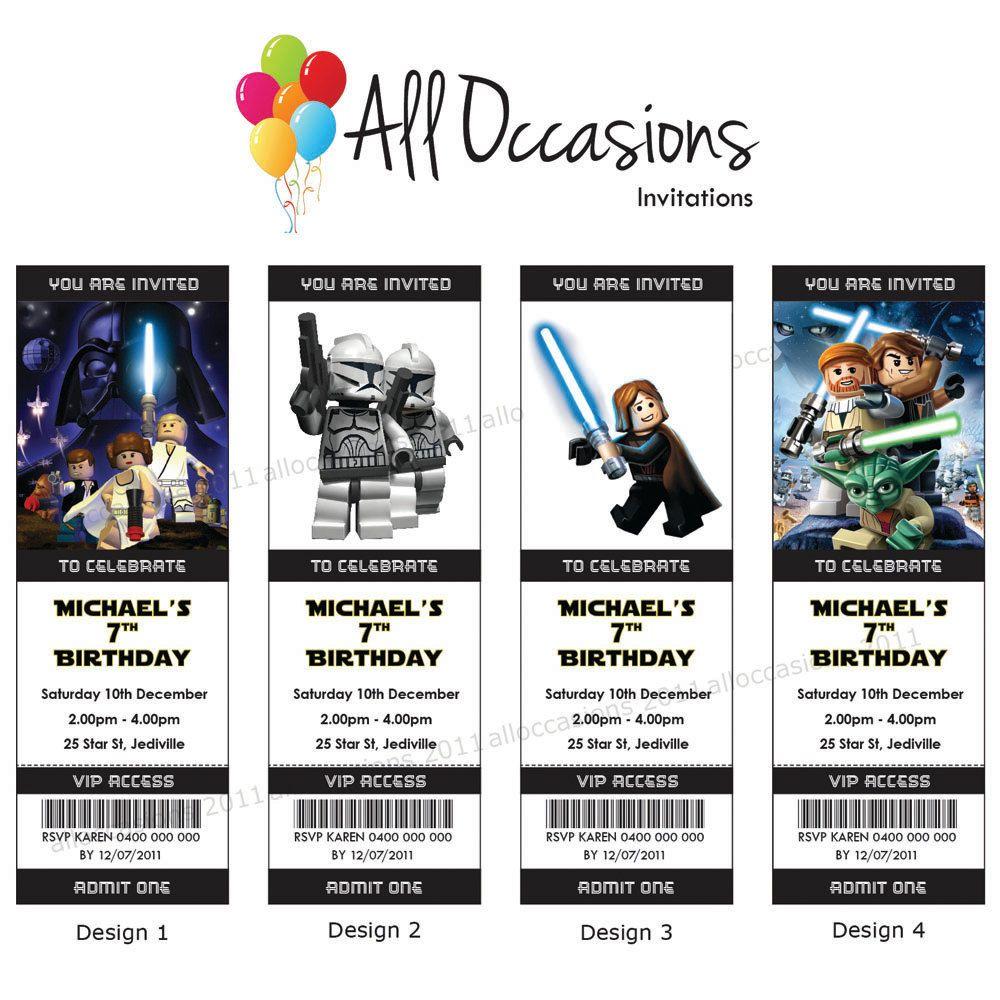Storm Trooper Personalised Custom Lego Star Wars Birthday Ticket ...
