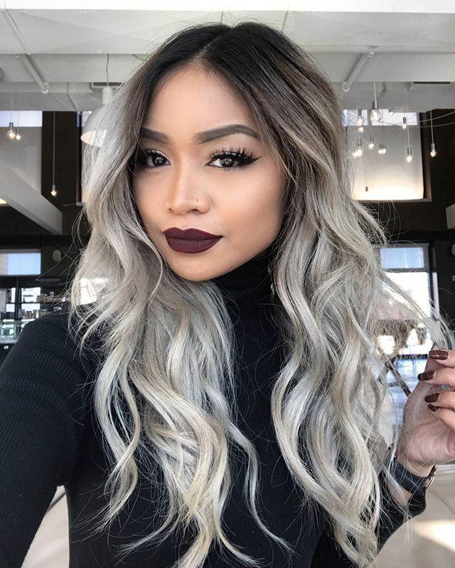 Ash Blond Platinum Hair Dark Black Roots Hair Tan Olive Skin Asian