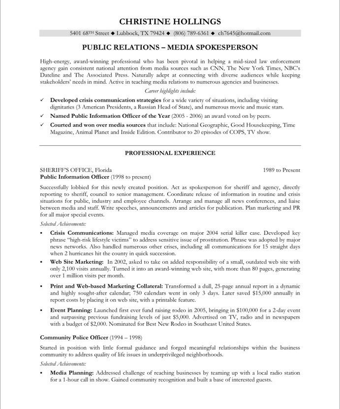 PR Manager-Page1 Media  Communications Resume Samples Pinterest - community officer sample resume