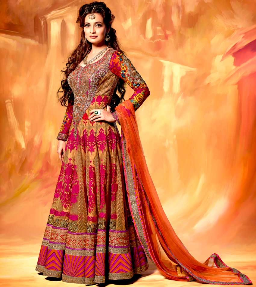Designer multicolored floor length anarkali suit this stunning