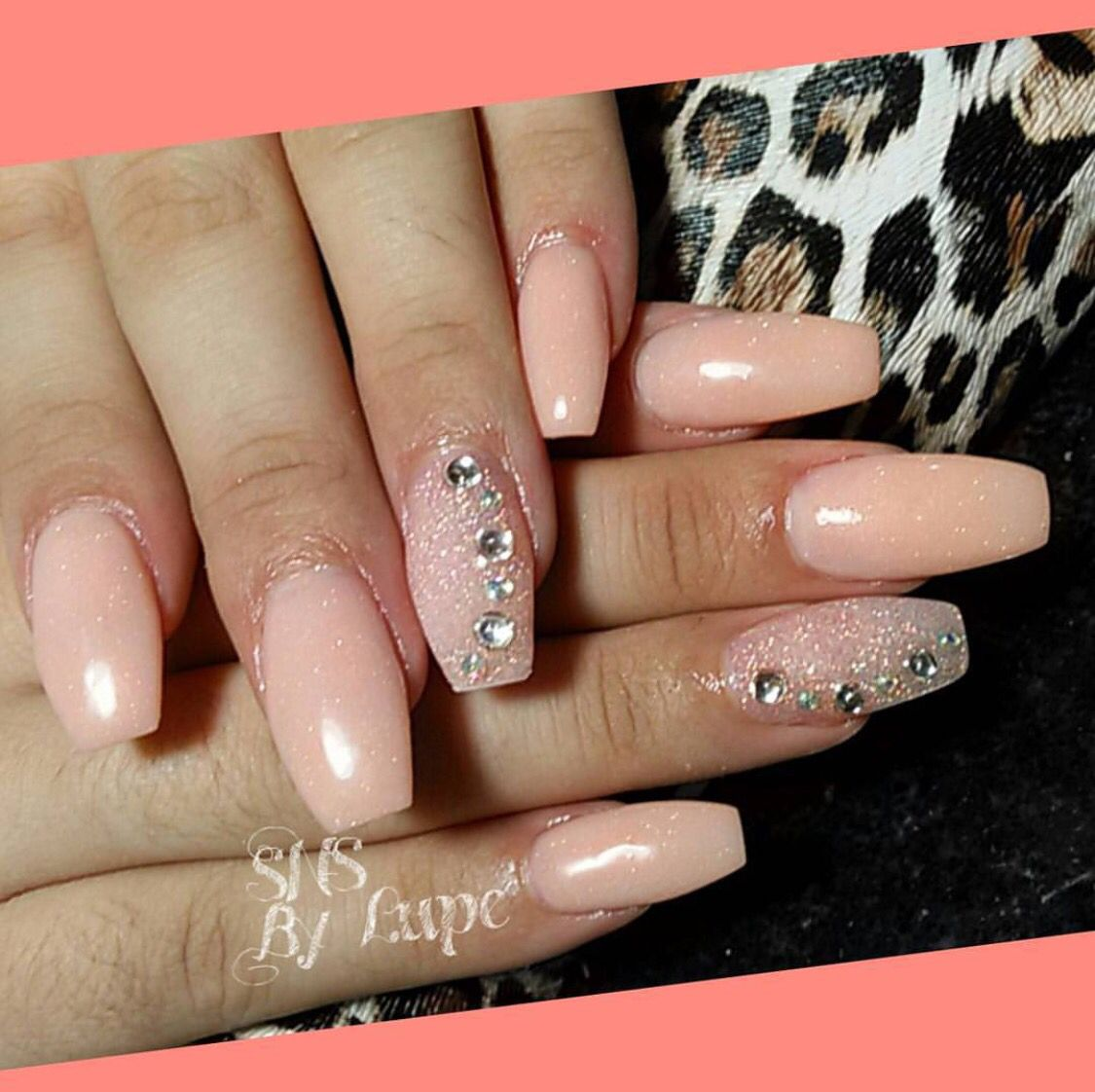 Nude color SNS nails ! … | Pinteres…