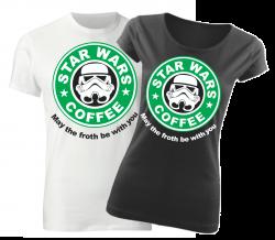9a8d86bead57 Originálne tričko s potlačou Star Wars Coffee pre fanúšikov filmu Star Wars  alebo kávičkárov zo Starbucksu