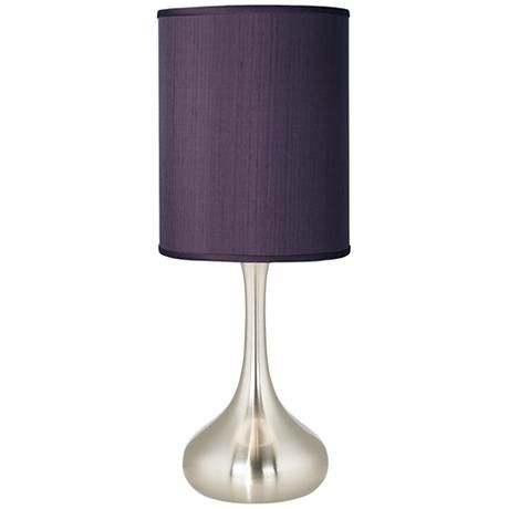 Eggplant Textured Silk Brushed Steel Kiss Table Lamp
