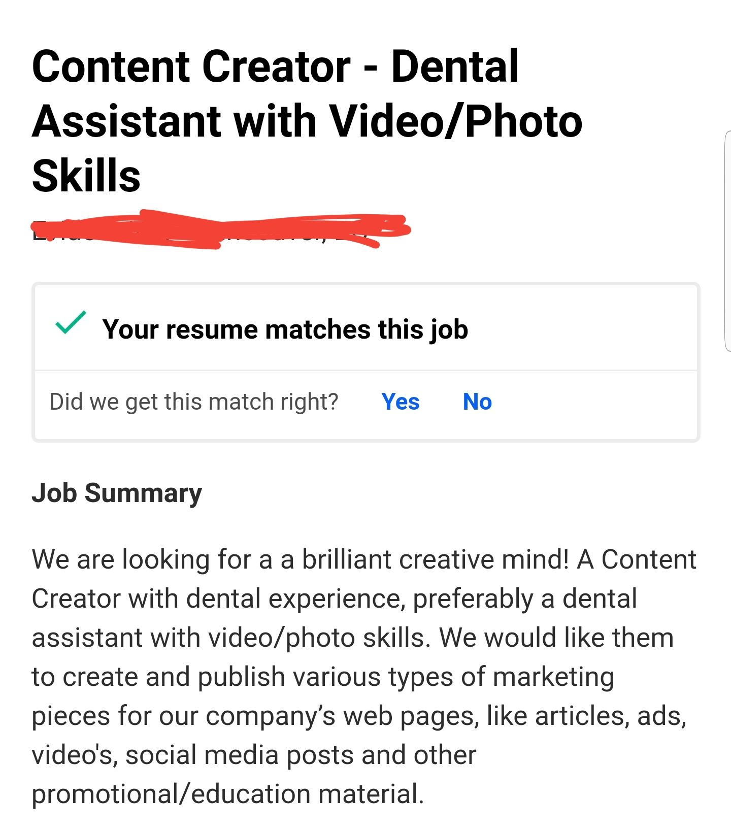 Your resume matches this job Videography Resume, Job