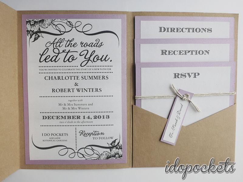Kraft wedding invitations diy pocketfold envelopes box vintage brown
