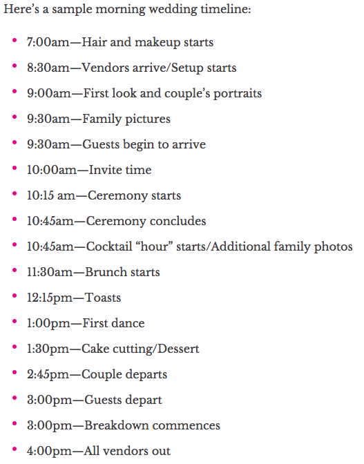 Sample Timeline For An Early Morning Wedding  Brunch Although We