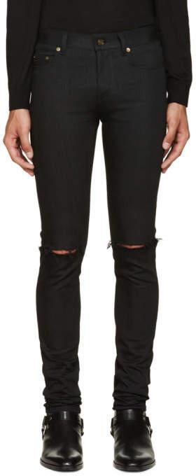 2879c5f9d12 Saint Laurent Black Original Low Waisted Ripped Skinny Jeans ...