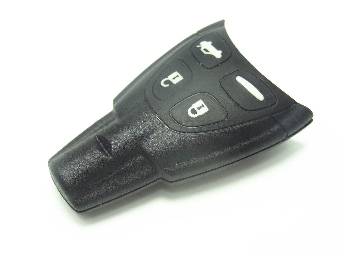 Replacement Remote Car Fob Key Fob Shell Pad Case For Saab 93 95 9 3 9 5 4 Buttons With Logo High Quality Soft Button Padded Case Saab Stuff To Buy