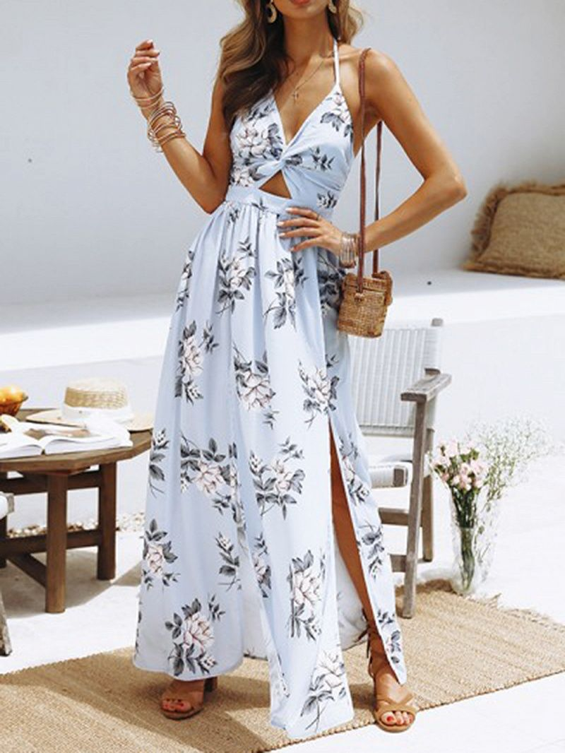 8c7dc0a6b5 Limited Supply Light Blue Plunge Floral Print Thigh Split Chic Women Maxi  Dress #elegantshoegirl #shoes #ankle #boots #flats #fashions #womens