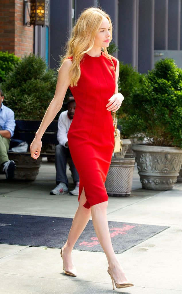 Kate Bosworth can stop traffic in this red stunner - it's a perfect compliment to her light blonde hair color. #haircolor #red eSalon.com