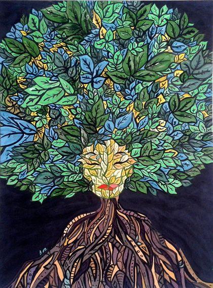 """Абстракция ручной работы. Ярмарка Мастеров - ручная работа. Купить Рисунок """"Древо"""" by atatay. Handmade. Разноцветный, рисунок на стене"""