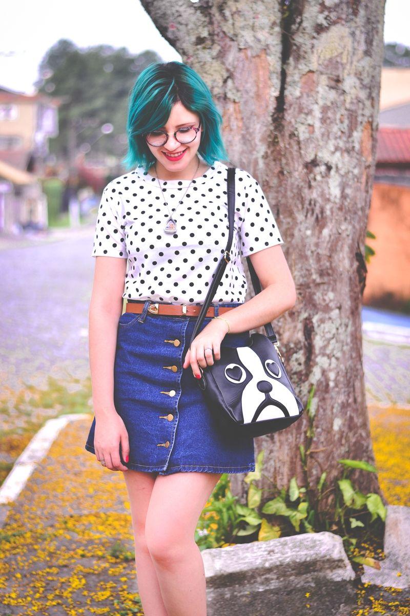 Saia de botões na frente e camiseta de bolinhas // Cute Outfit by Jess Vieira