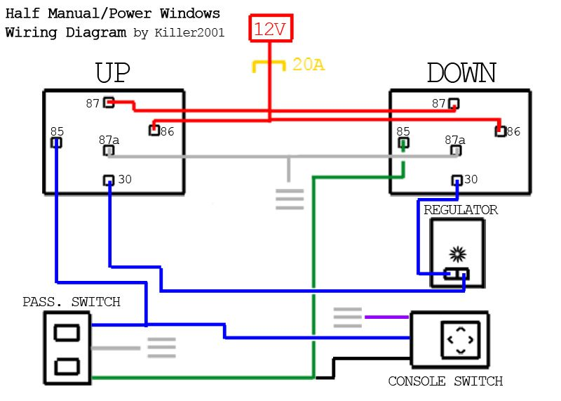 Half Manual/Power Window Wiring Diagram | Electrical circuit diagram,  Electrical diagram, Car mechanic | Window Motor Wiring Diagram |  | Pinterest