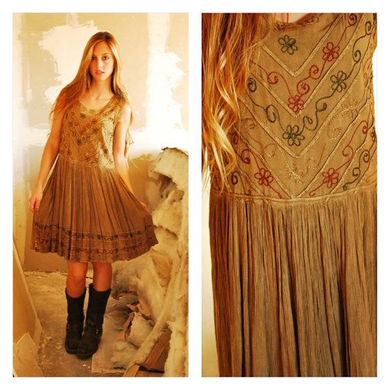 Hippie Dress Bohemian Made In India Wander Embroidered Natural Colored Dyed Khaki Green Rayon Gauze