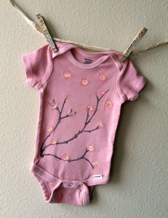 Hand Painted Cherry Blossom Onesie in Milled by BabyandBojoDesigns, $18.00