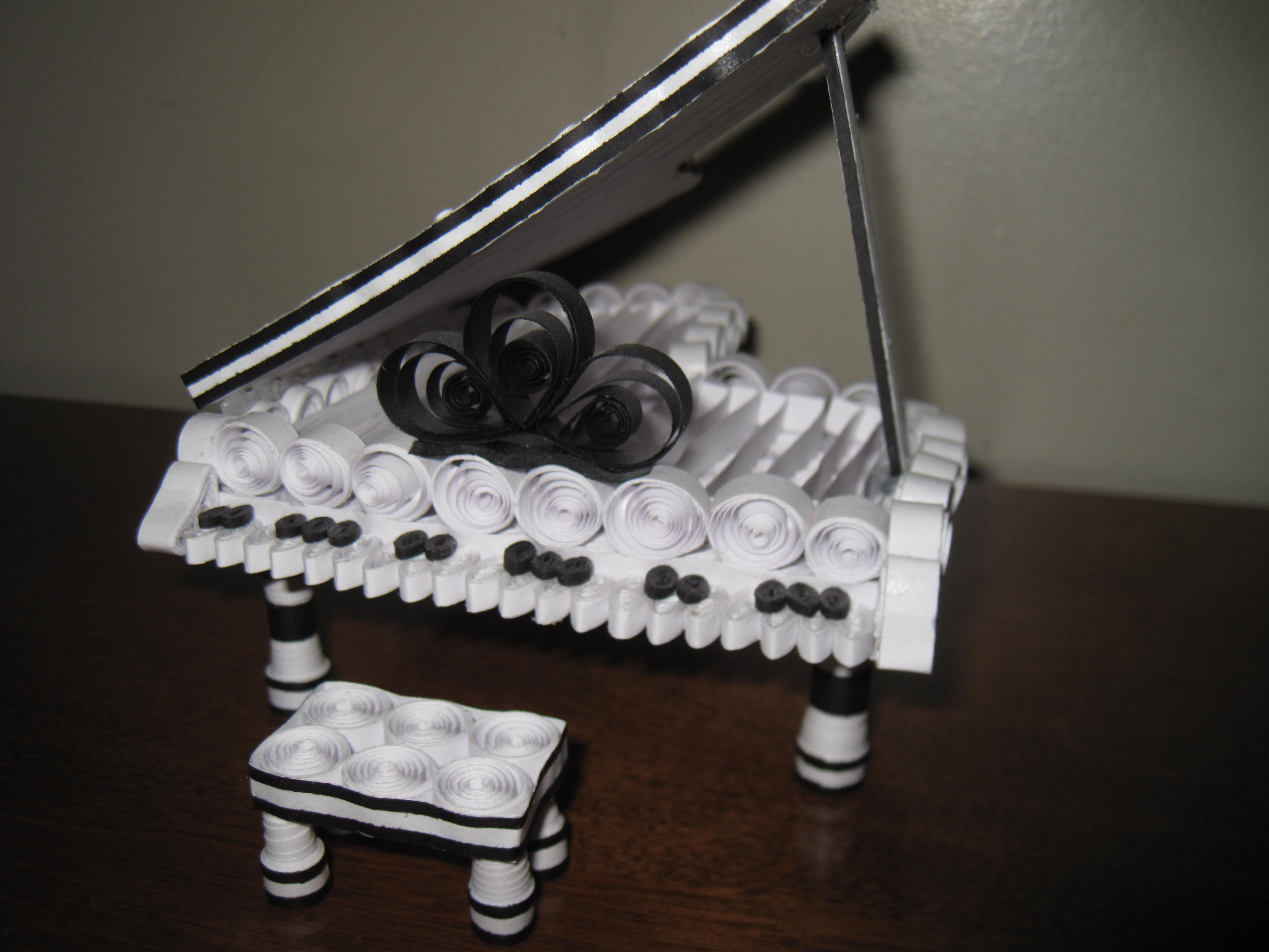 White Grand Piano Full Front View