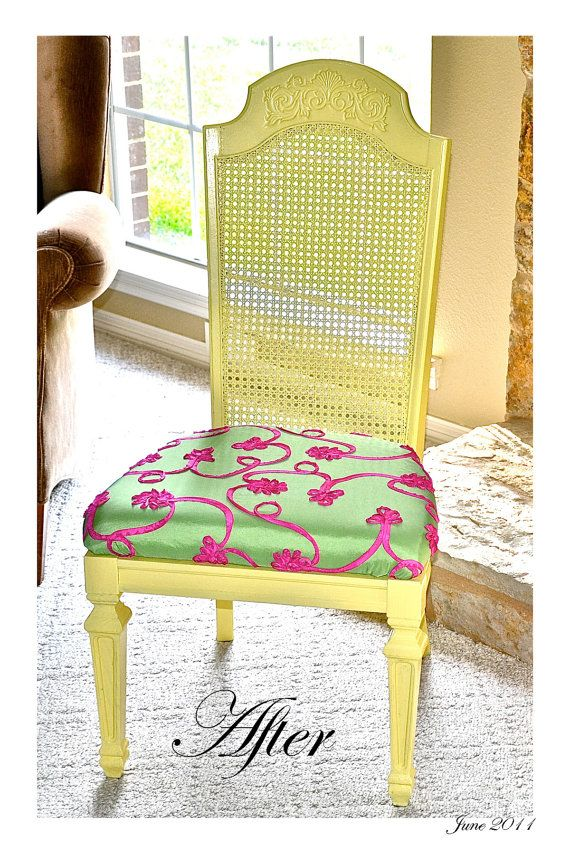 Armless Light Yellow, Lime Green & Hot Pink Cane Chair In