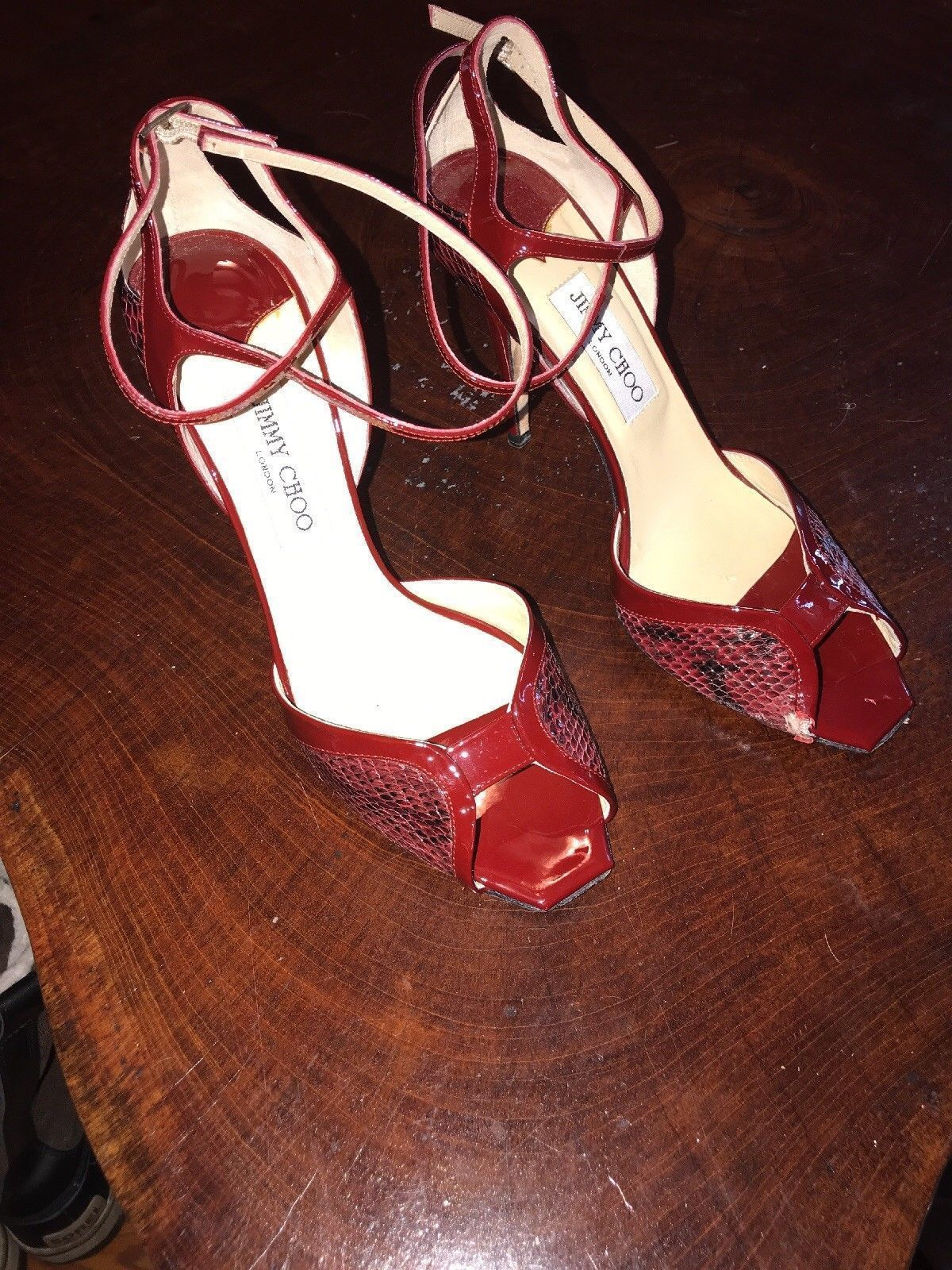 d7bec4388bb5 jimmy choo Red Snakeskin Strappy Heel Size 39 1 2