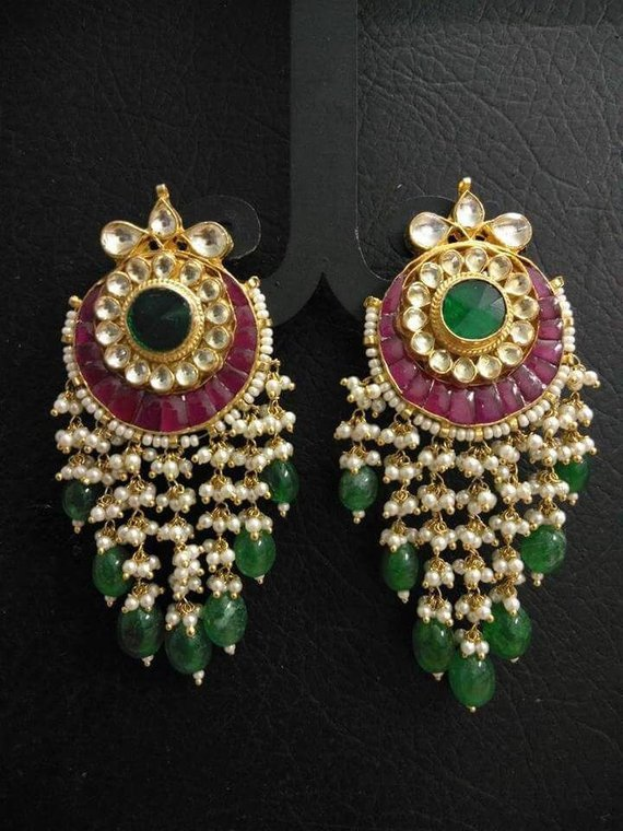 8ca77bf19 Kundan Studs in 2019 | Products | Jewelry, Gold jewelry, Earrings