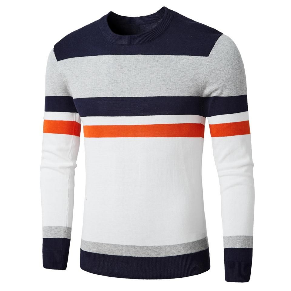 Autumn Fashion Casual Striped Cotton Sweater Men O-Neck Warm 100% Cotton Knit Mens Sweaters Pullovers Coat Men