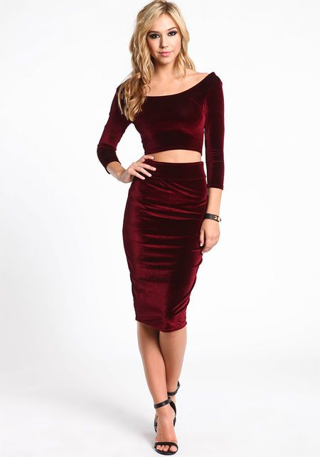 Velvet Midi Skirt, BURGUNDY, large
