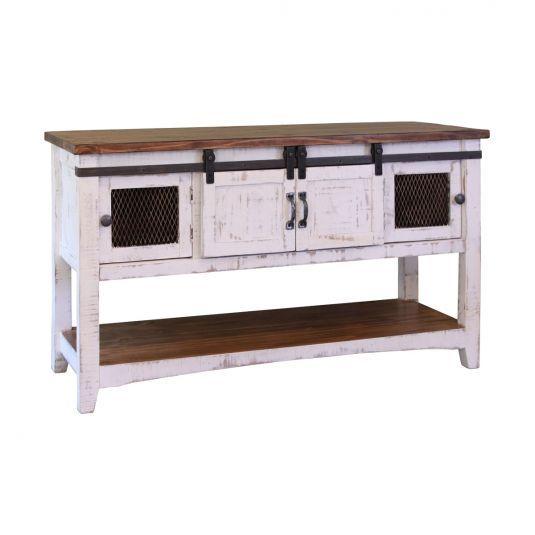 Potter Rustic White Barn Door Sofa Table Furniture Distressed