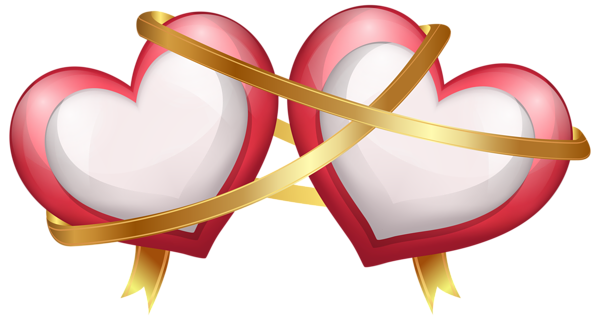 Two Hearts With Ribbon Transparent Png Clip Art Image Clip Art Heart Illustration Heart Clip Art