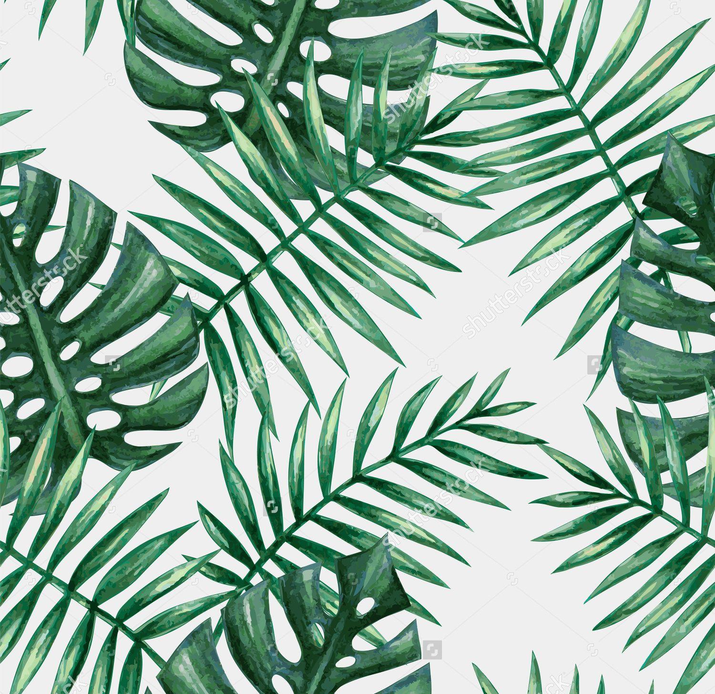 Watercolor Palm Leaves Pattern Leaf Art Green Leaf Wallpaper Leaf Wallpaper