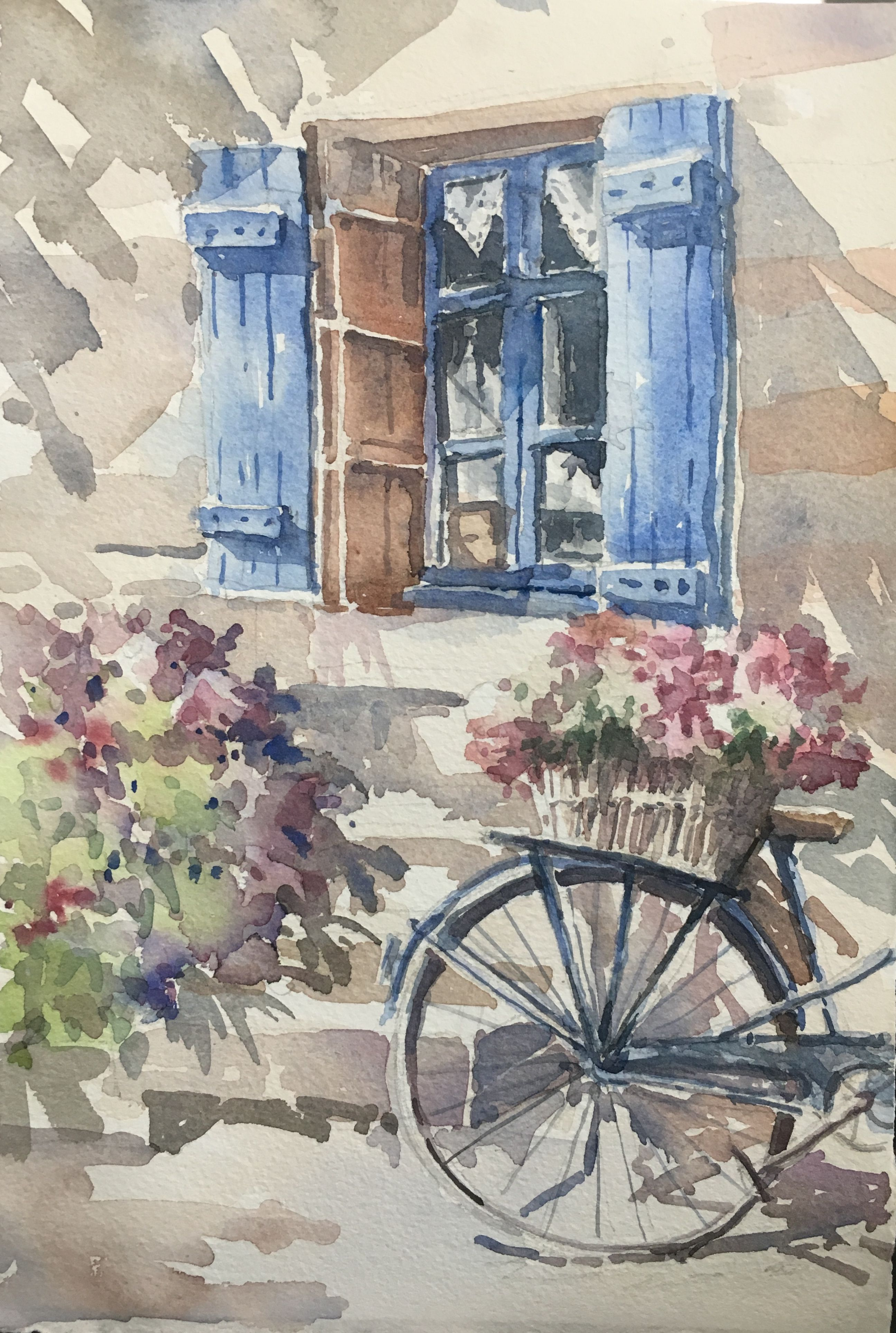 Window And Bicycle Watercolour By Brian Tai
