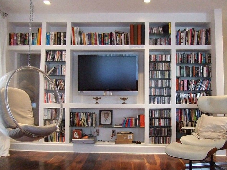 Storage Decorations Charming White Wooden Book With Tv Stands Built In Cabinets As Inspiring Wall Bookshelves Design And Cool Hanging Egg Chair