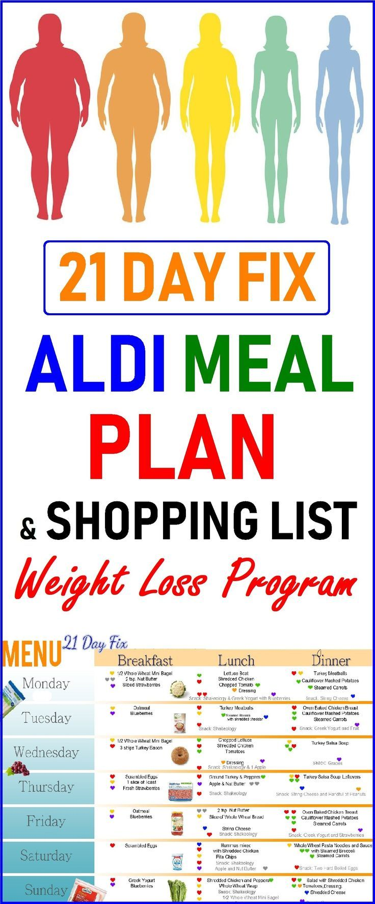 21 Day Fix ALDI Meal Plan and Shopping List  Weight Loss Program  Food
