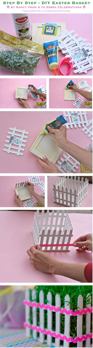 DIY Easter Basket Picket Fence Centerpiece Also Could Be Used