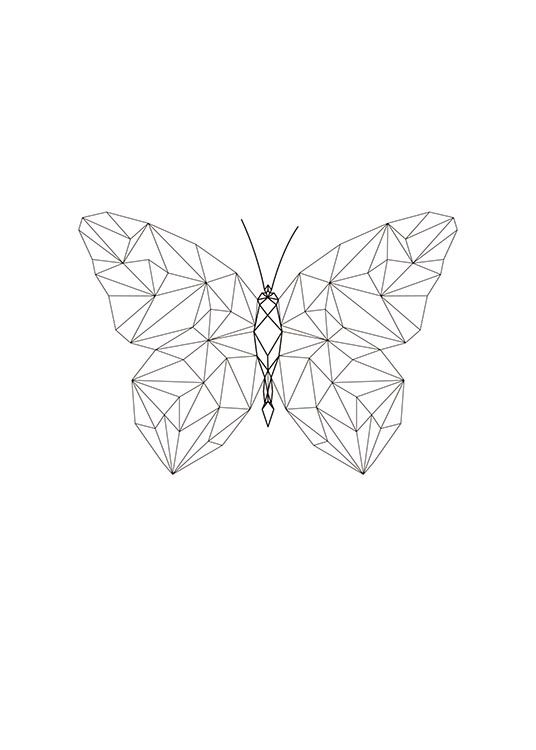 Graphic Poster With Geometric Butterfly Geometric Animals Geometric Art Geometric Drawing