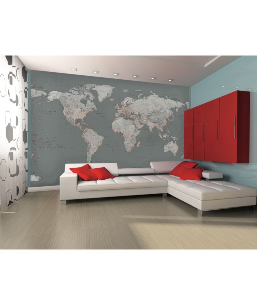 Buy 1wall silver map giant mural at argos your online shop fashionable world map wall mural for any room throughout your home in vogue greys and orange themed world map mural fits perfectly in any modern lounge gumiabroncs Images