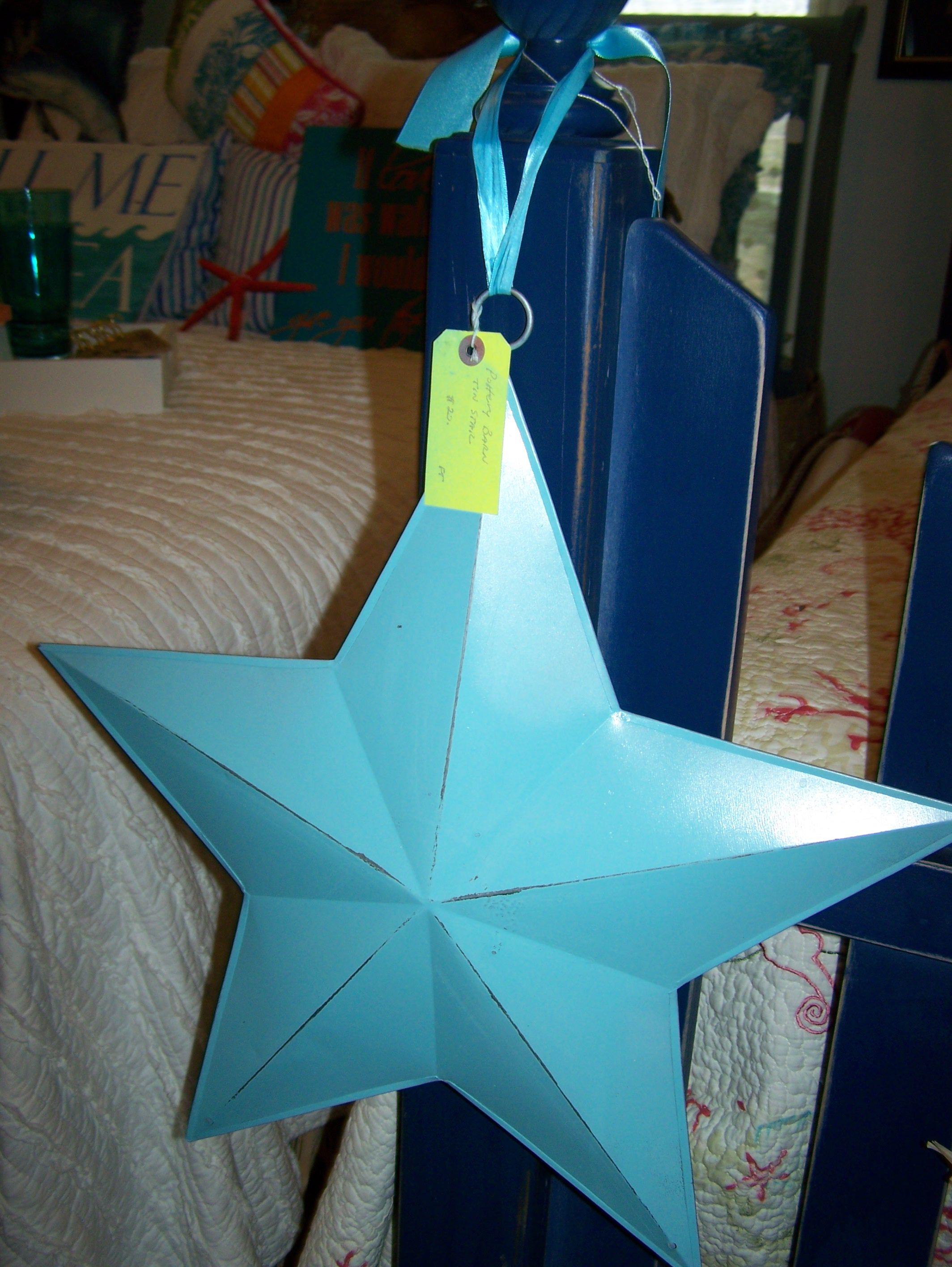Pottery Barn tin star painted coastal blue.